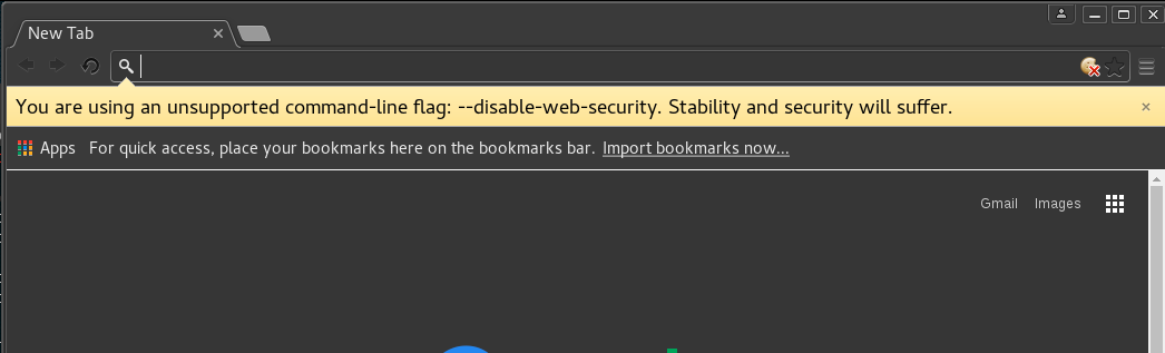 Kali Chromium Error: You Are using an Unsupported Command line flag --disable-web-security. Security and Stability will suffer