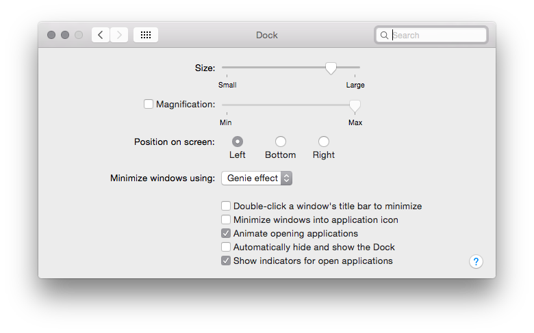 Max OS X Dock Left hand side