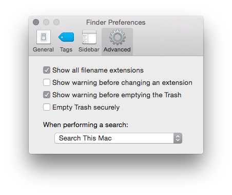 Max OS X Show File Extensions in Finder